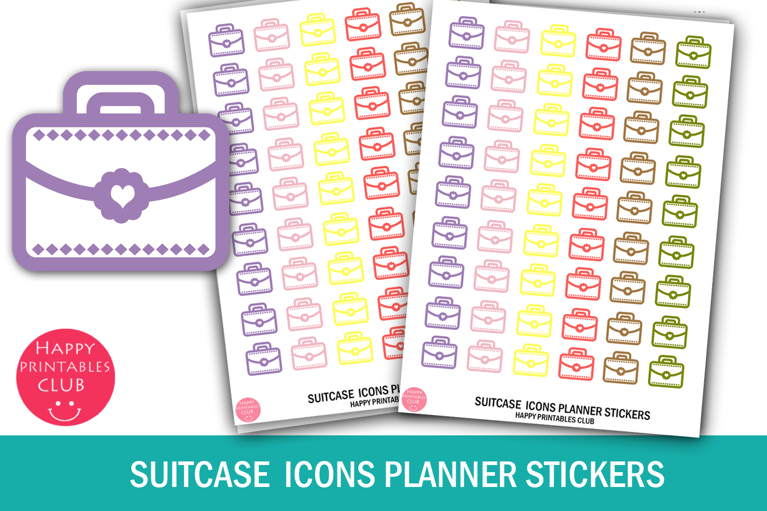 Suitcase Icons Planner Stickers- Suitcase Stickers Icons example image 1