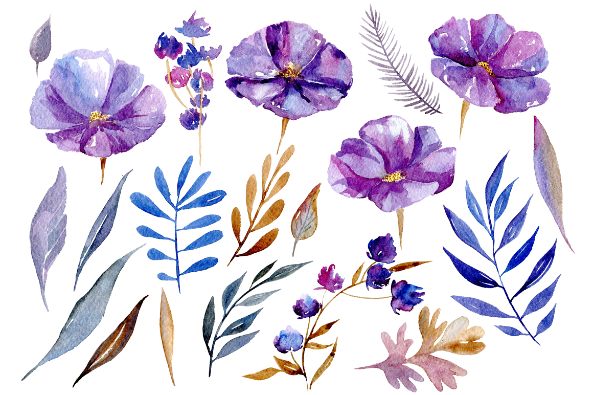 Watercolor violet flowers, 32 png example image 2