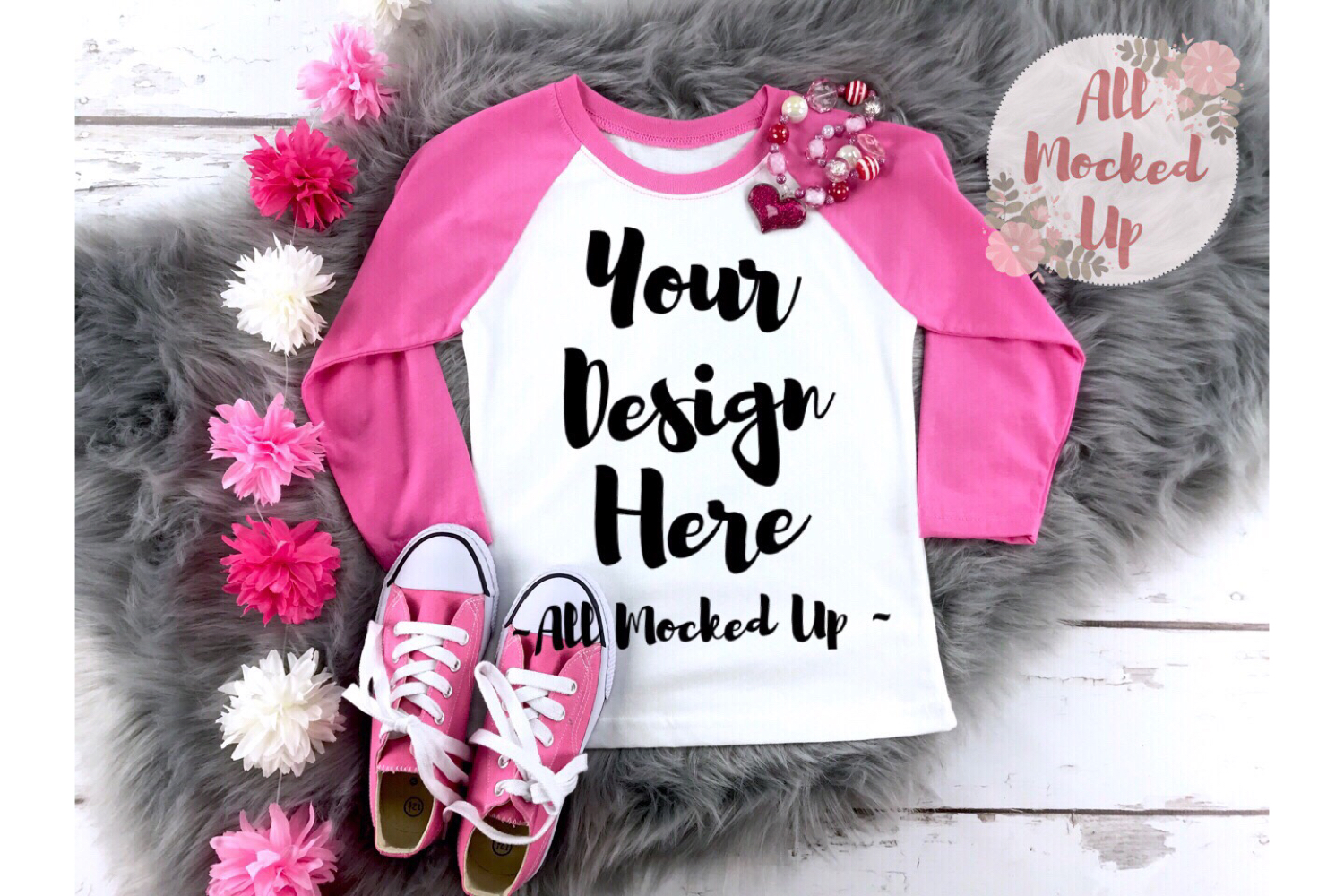 Next Level 3352 Youth Raglan Mock Up - HOT Pink Sleeves example image 1