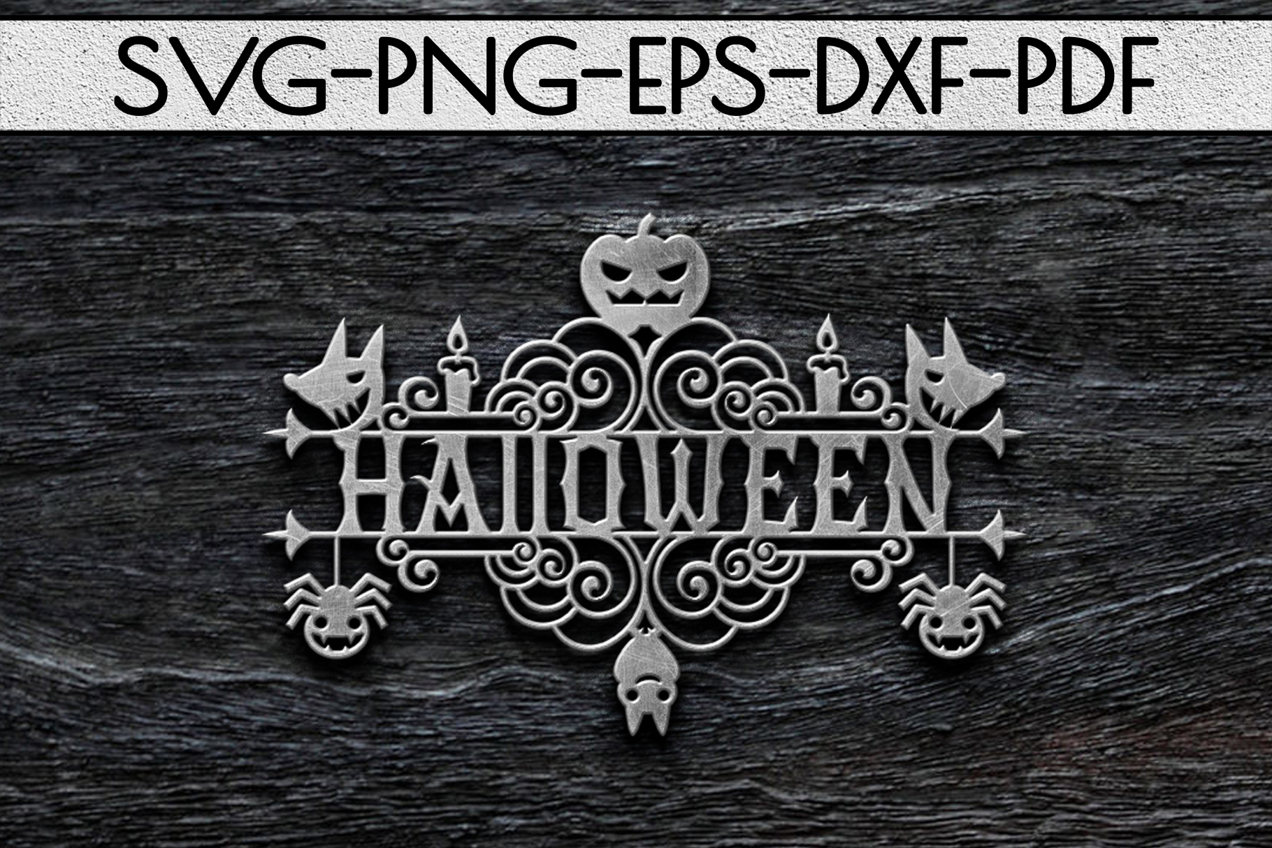 Halloween Sign Design Papercut Template, Spooky SVG, PDF example image 3