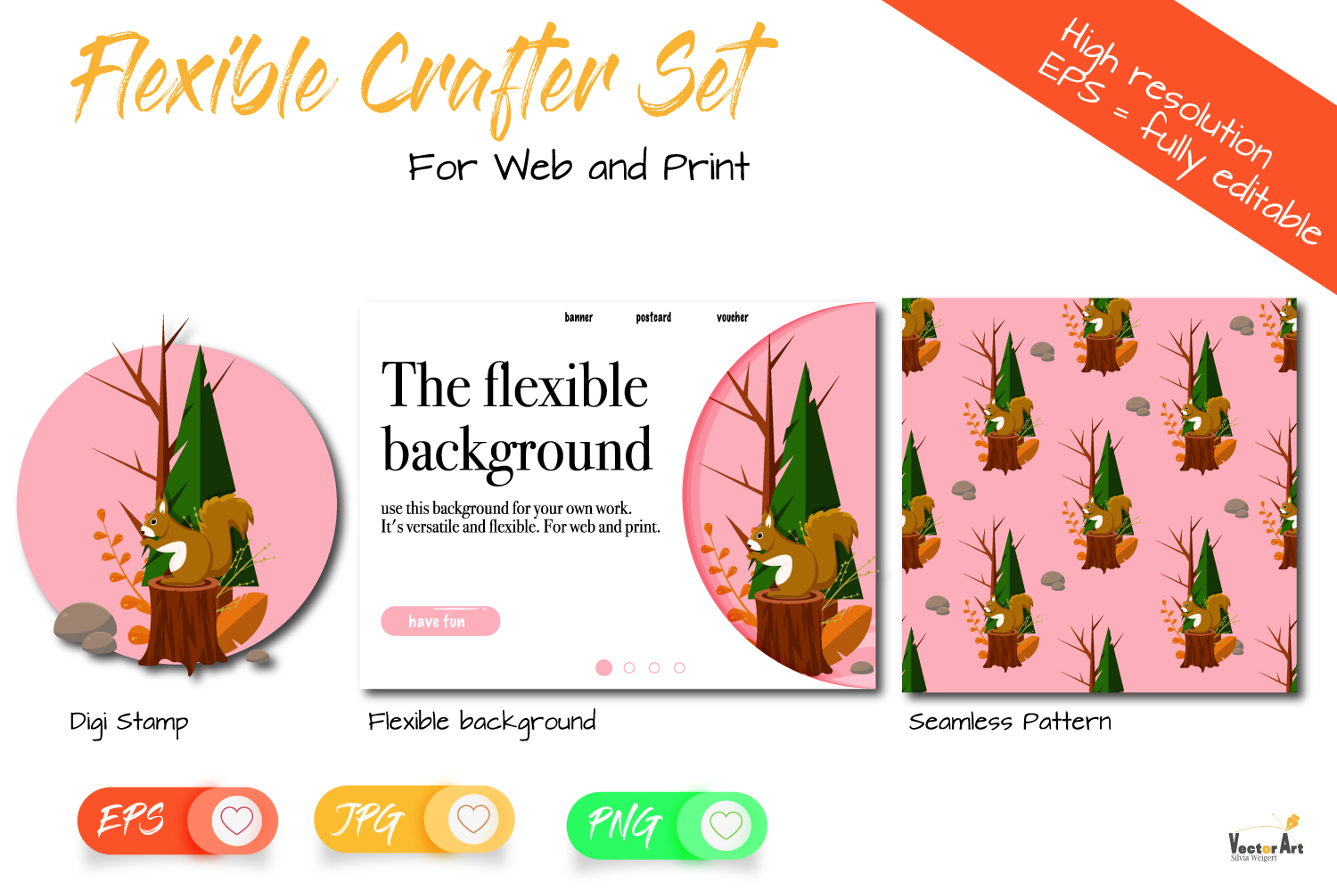 Crafter Set - DigiStamp - Seamless Pattern - Background example image 1