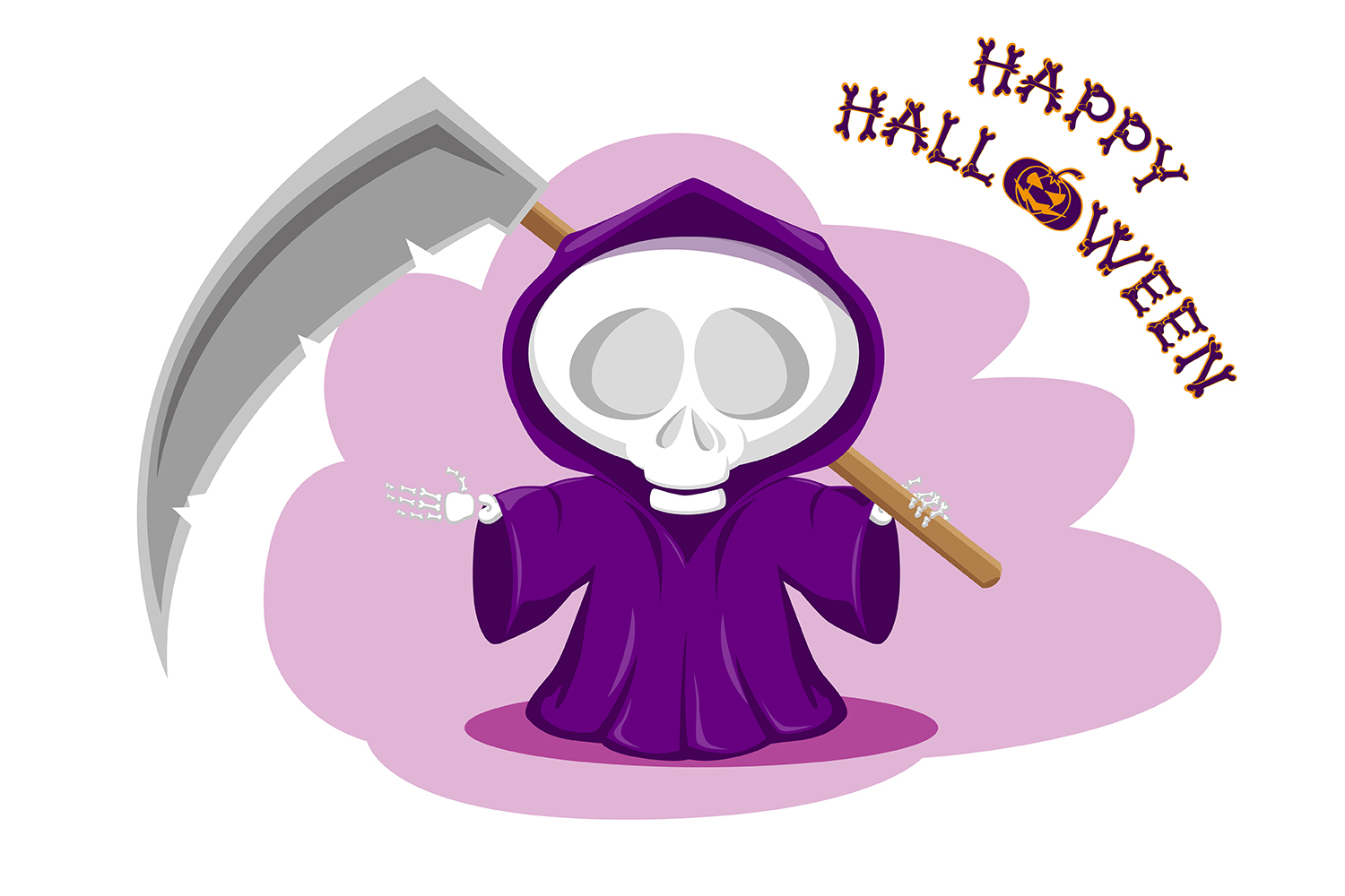 Set of 12 figure funny little death with large scythe and halloween pumpkin. Vector illustration example image 4