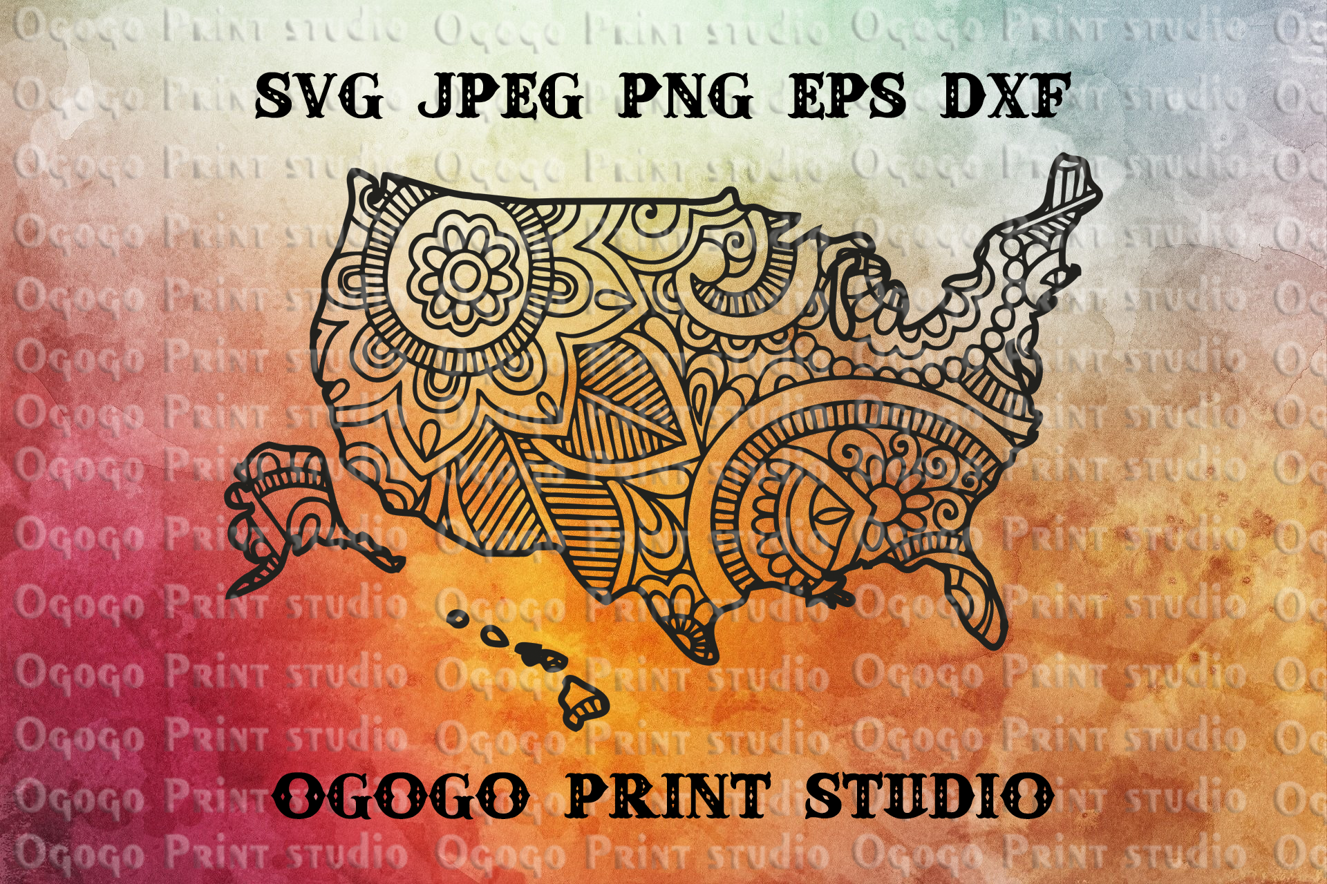 United States SVG, US Map svg, Zentangle SVG, Travel svg example image 1