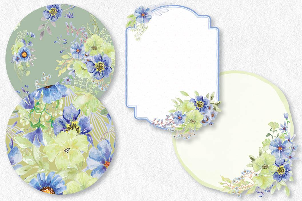 'Moody Blue' watercolor clip art bundle example image 7