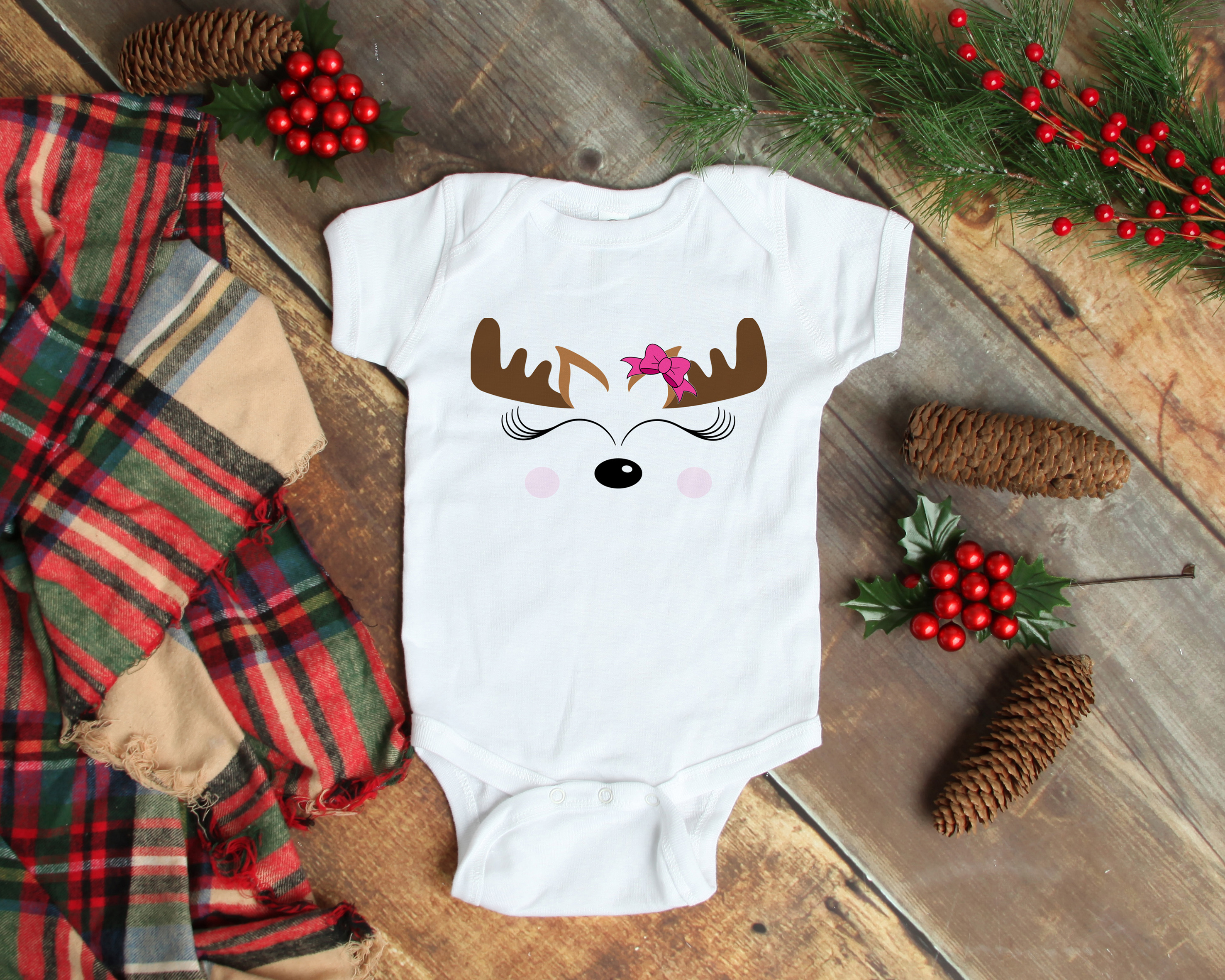 Reindeer Face Christmas SVG example image 2
