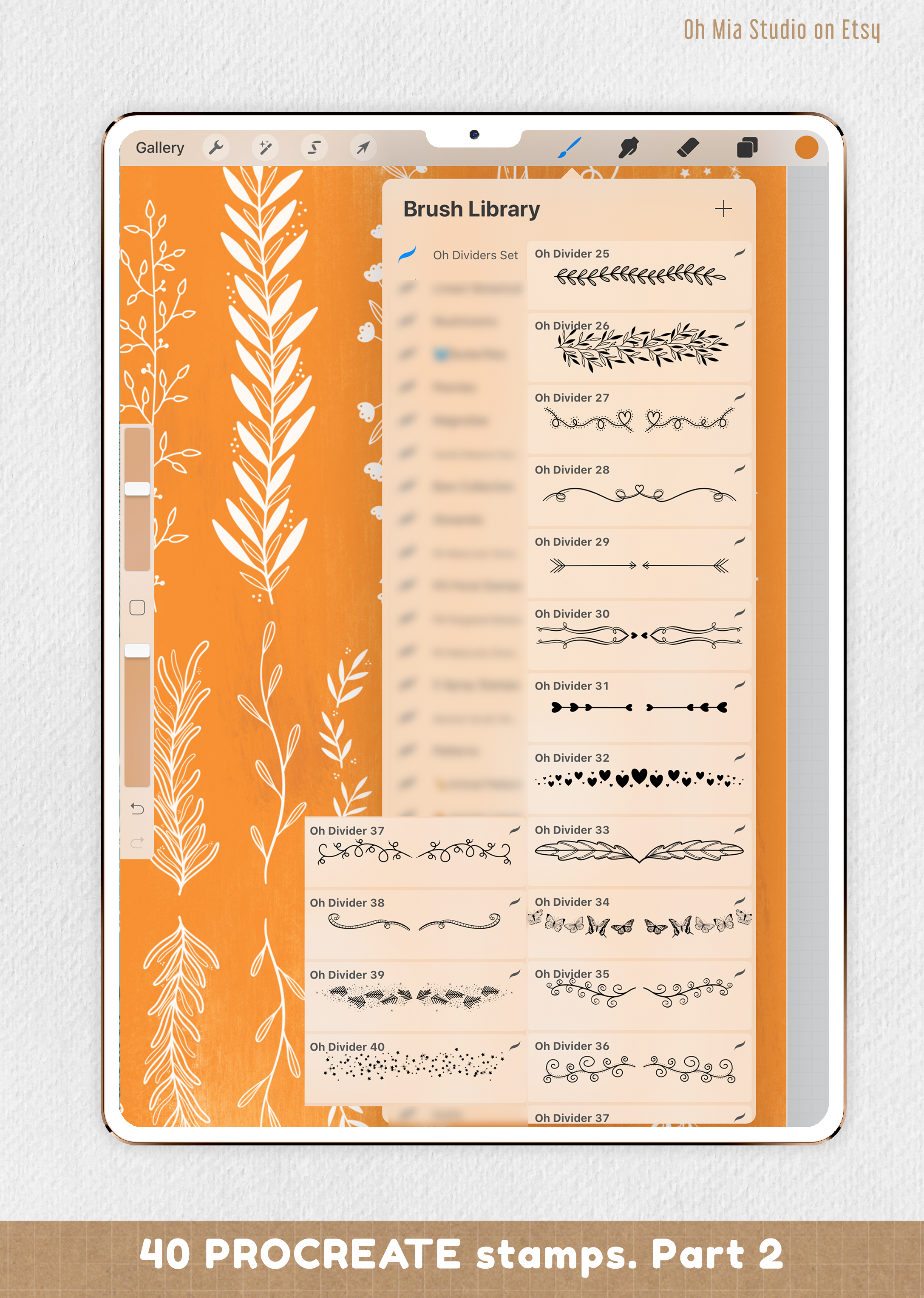 PROCREATE Dividers Stamp Brushes | 40 botanical dividers example image 3