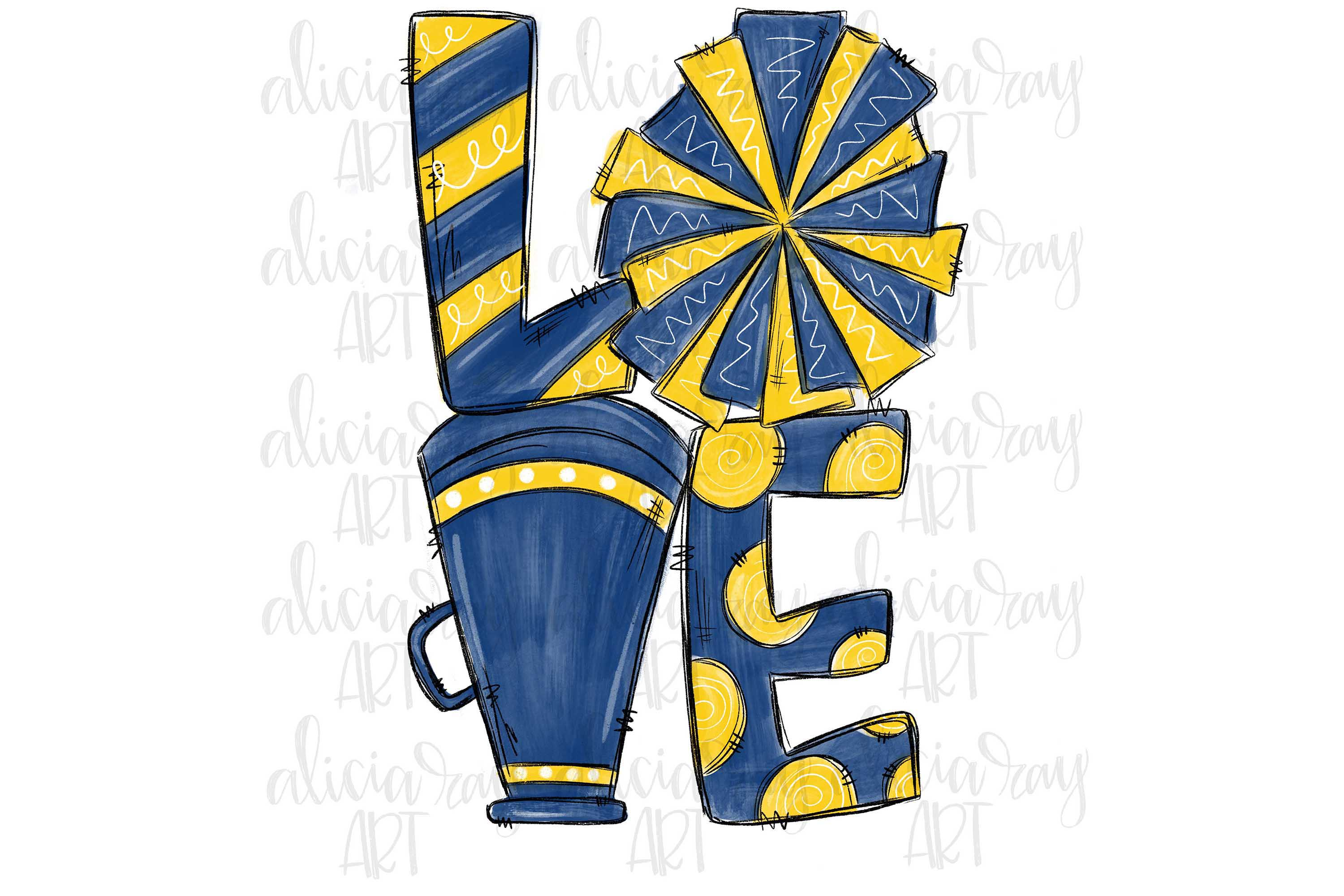 Cheer Love Navy and Yellow/Gold example image 1