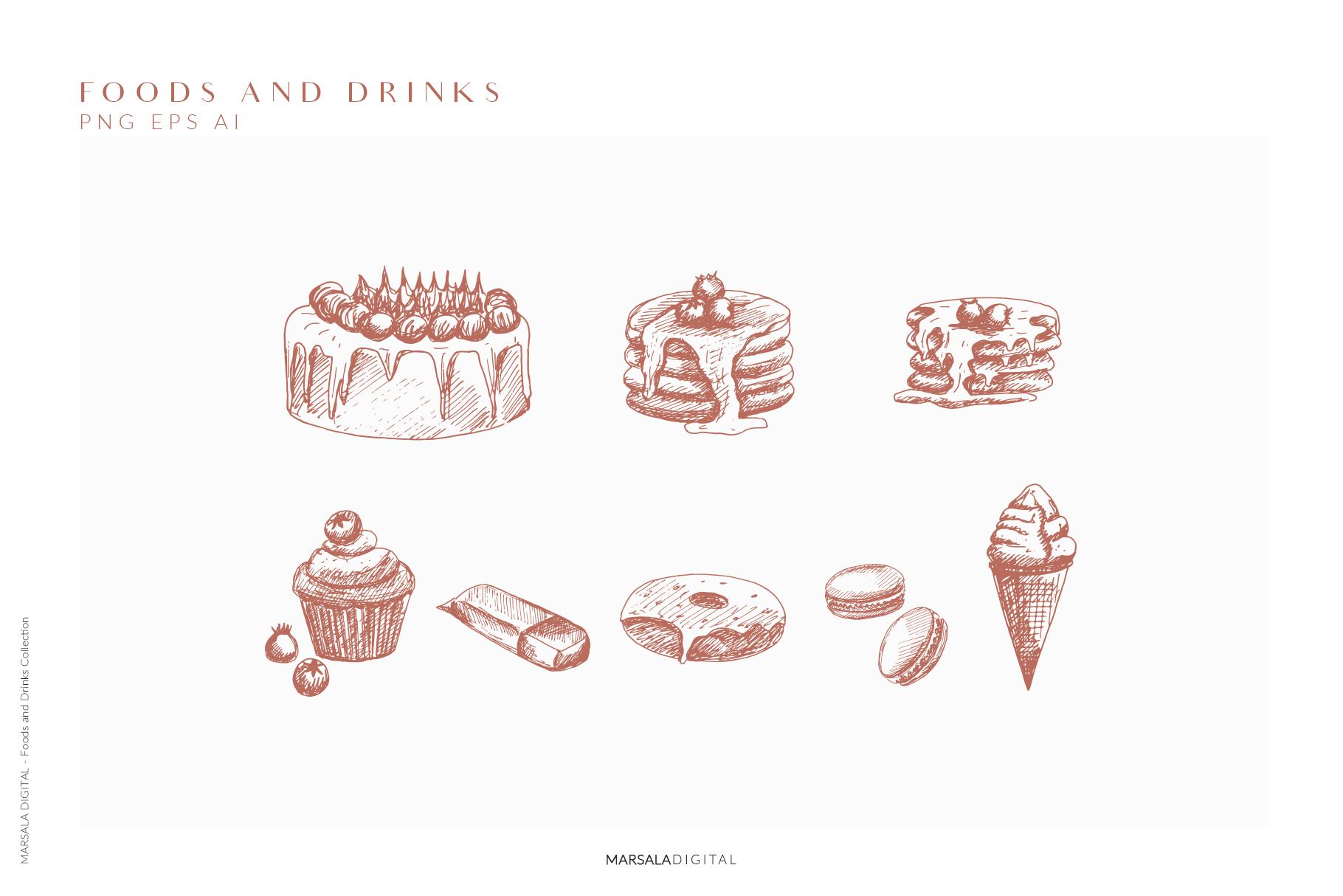 Foods & Drinks Logo Elements Handrawn Graphics example image 10