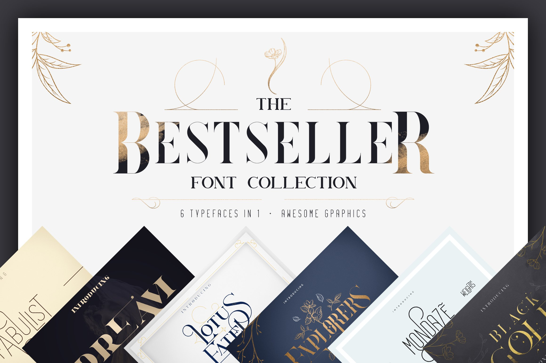 Bestseller font collection 6 typefaces in 1 example image 1
