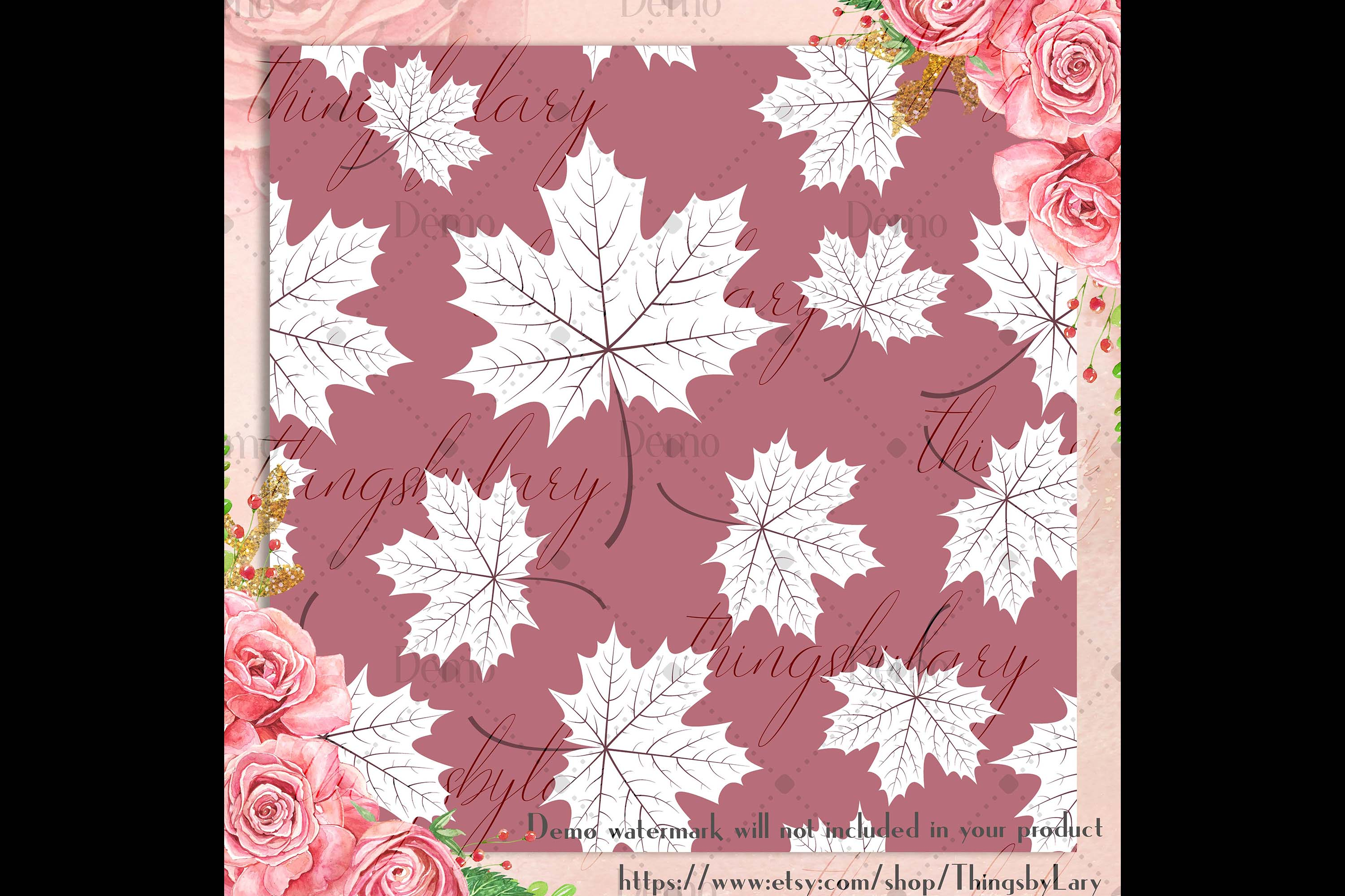 100 Seamless White Autumn Leaves Pattern Digital Papers example image 3