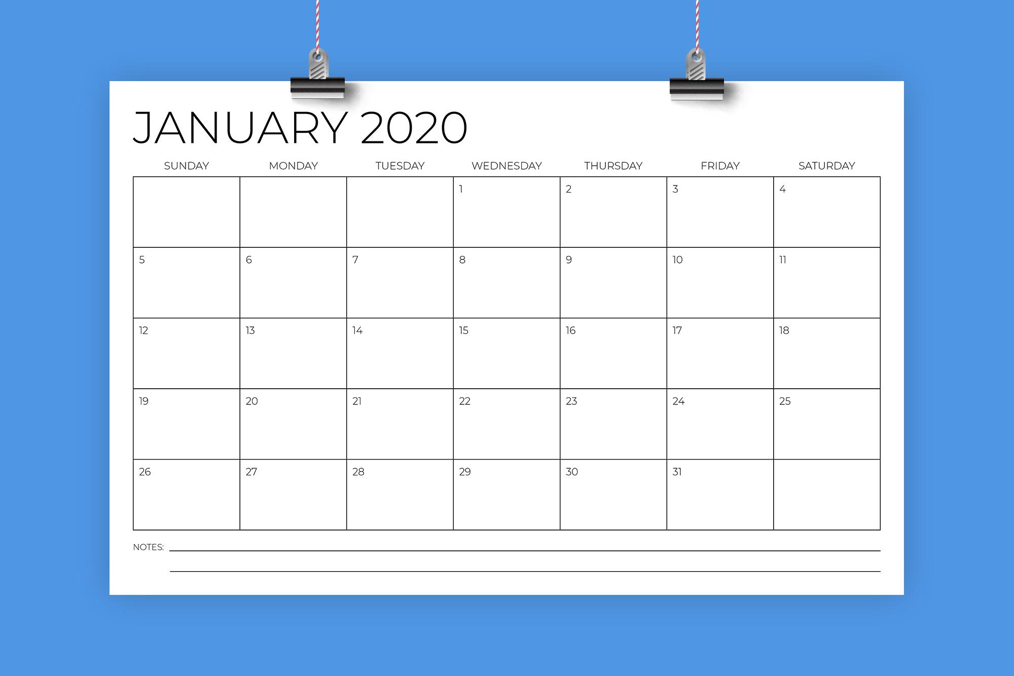 11 x 17 Inch Modern 2020 Calendar example image 1