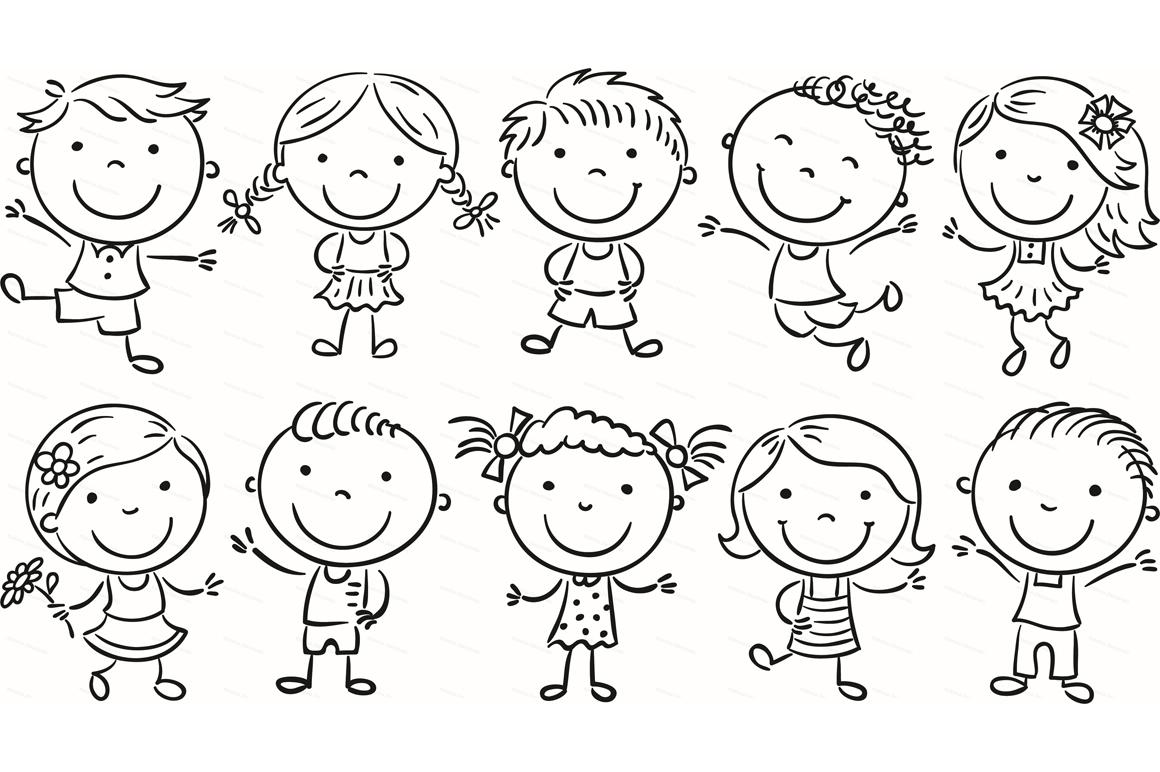 Happy Cartoon Kids Bundle, children doodle, kids doodle example image 29