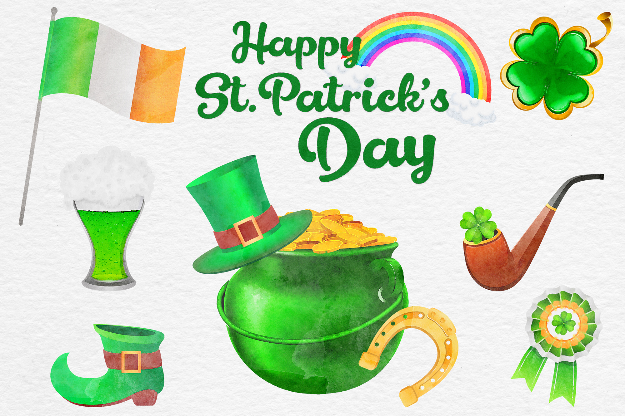 St Patricks Day Watercolor Clipart, Irish Watercolor ...
