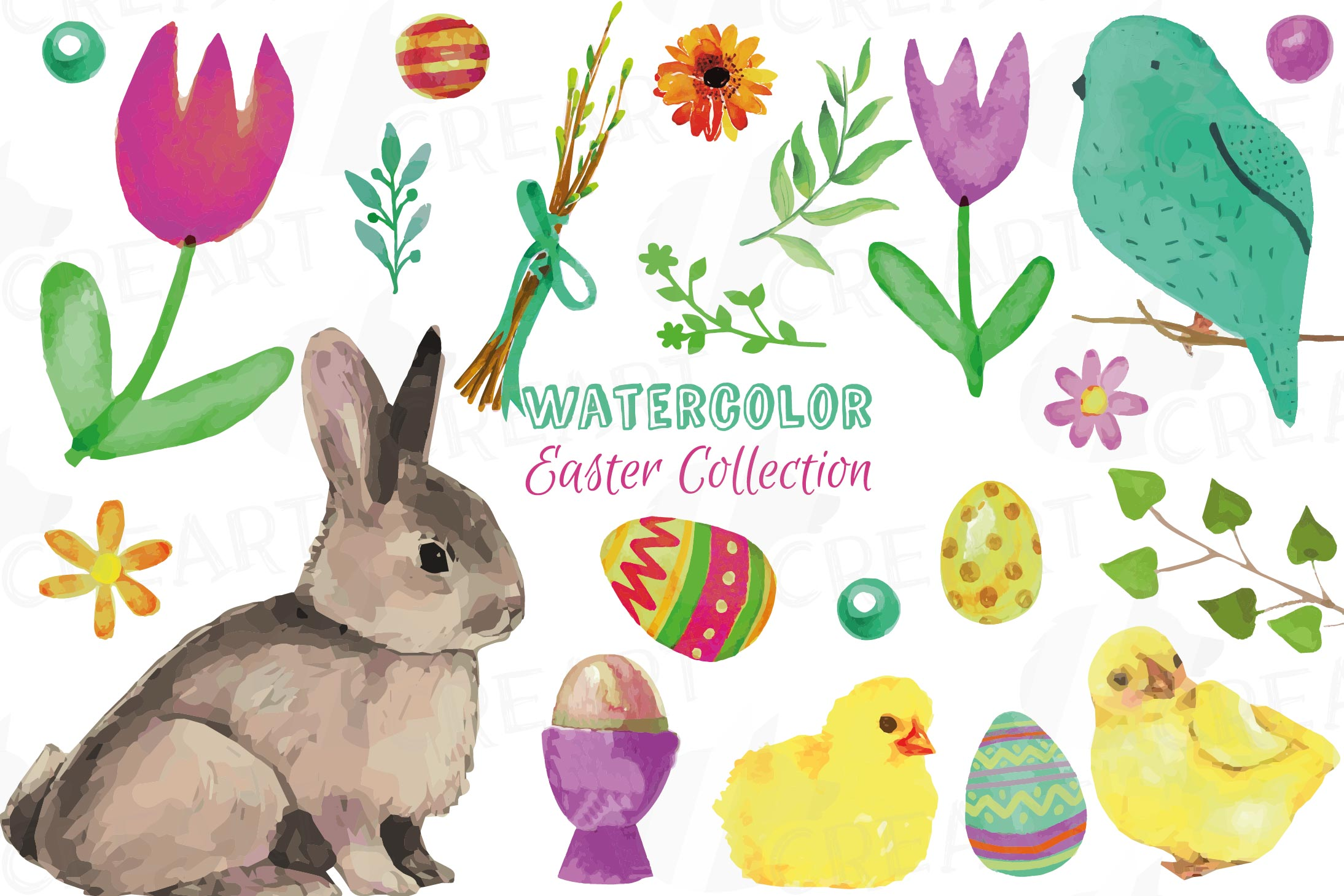 Colorful Easter elements clip art pack, printable hand drawn example image 1