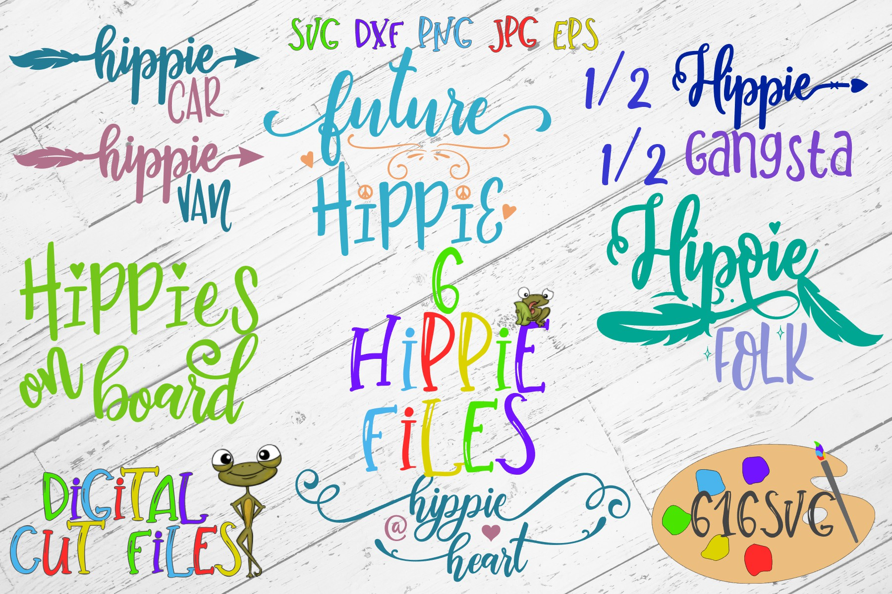 Hippie Mini Bundle SVG example image 1