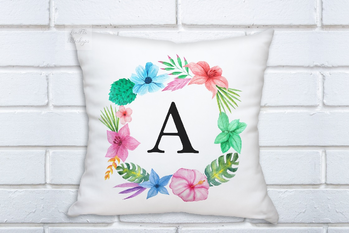White pillow square mockup template white background mock up example image 2