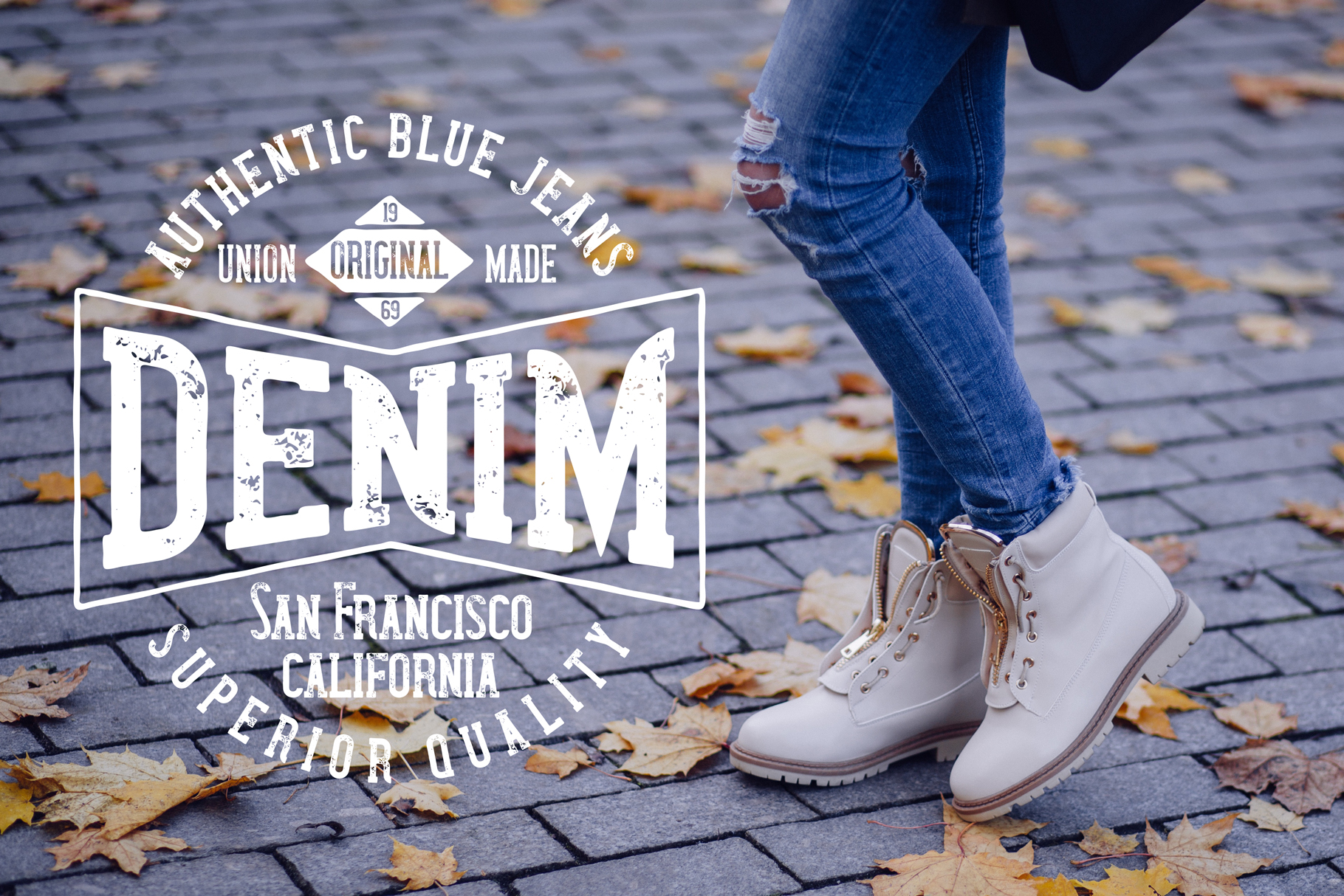 Wanted Denim layered font example image 7