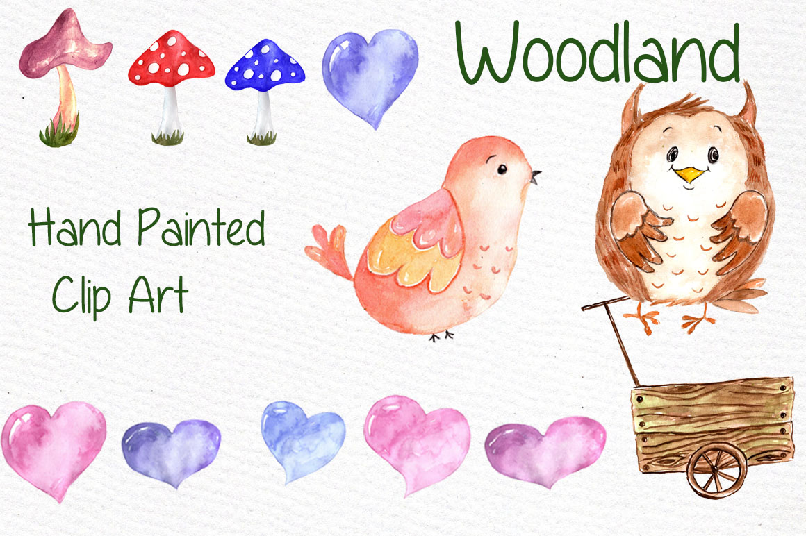 Watercolor forest animals clipart example image 2
