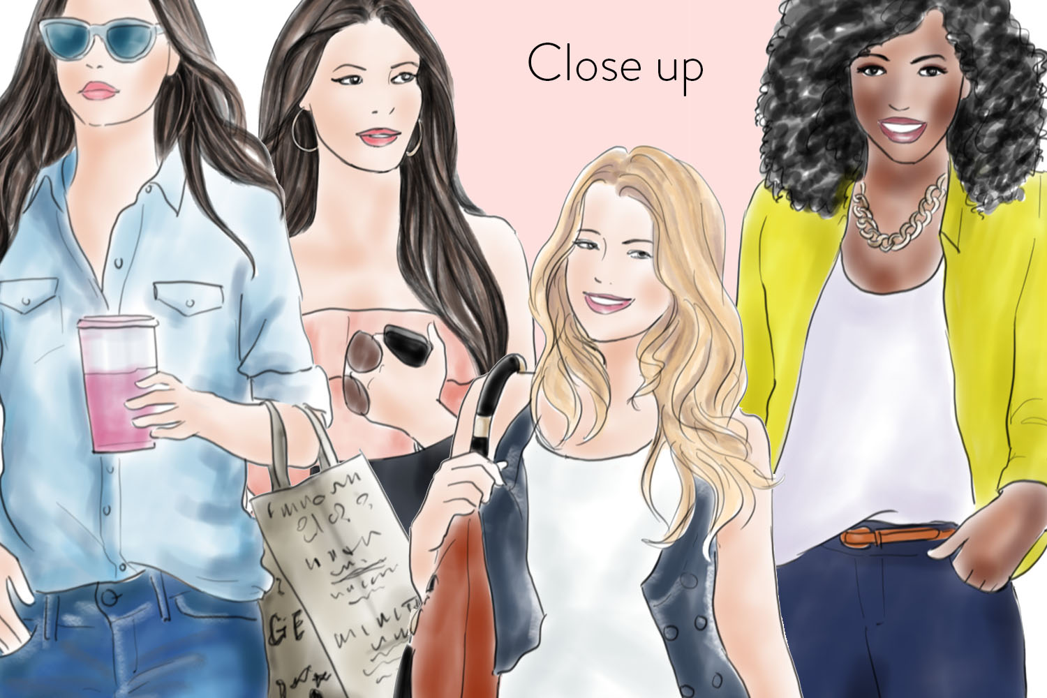 Watercolour fashion illustration clipart Shopping Girls - Assorted example image 3