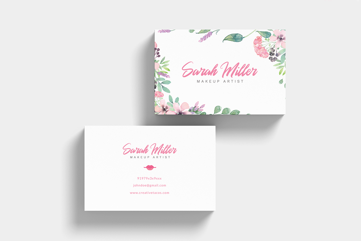 Floral Minimalist Business Card Template example image 7