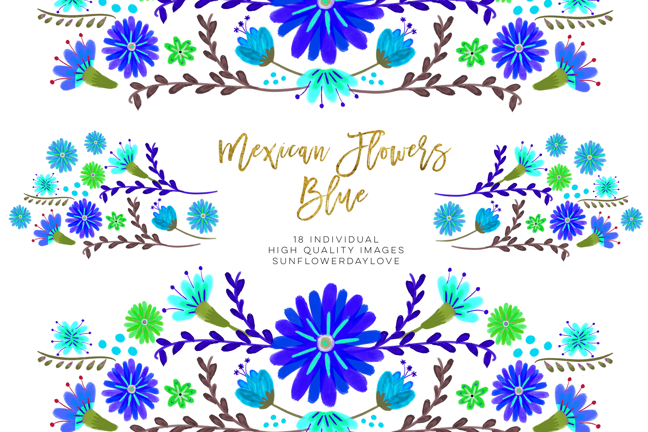 Blue Mexican Watercolor Floral clipart example image 4