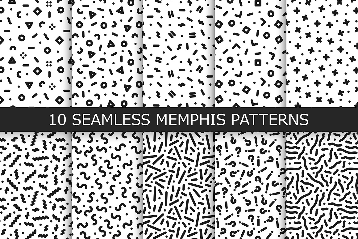Bundle of Memphis seamless patterns example image 5