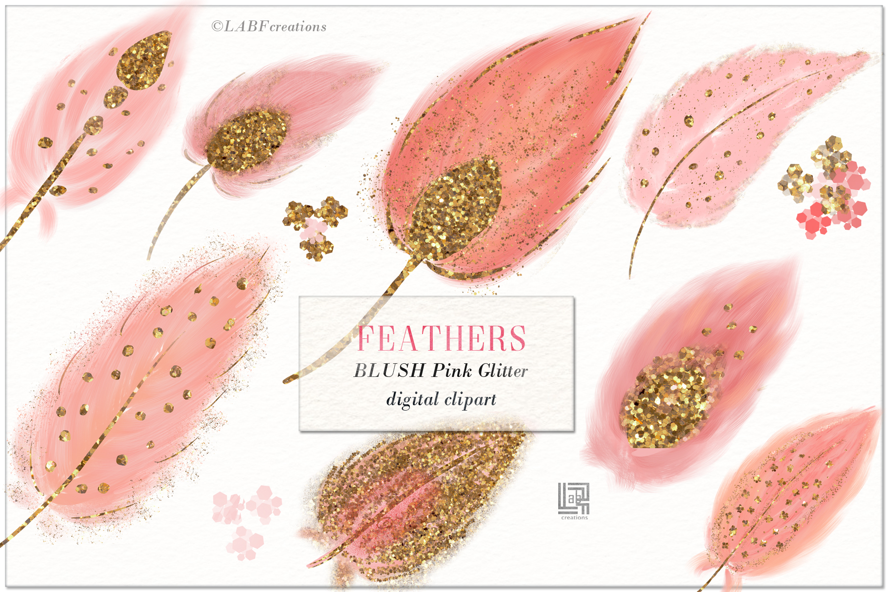 Feathers. Blush pink and Gold glitter. Digital Clipart. | Ha example image 2