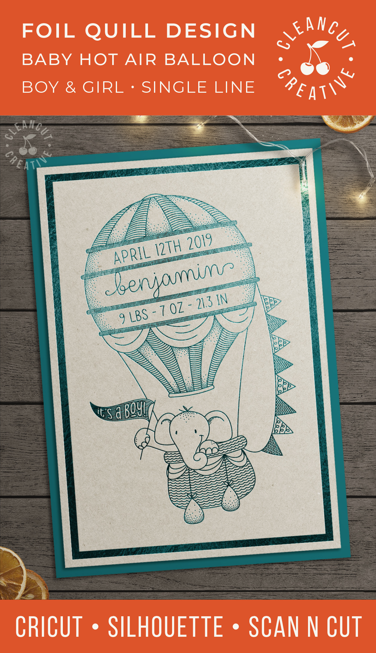 Foil Quill HOT AIR BALLOON Birth Stats Baby Announcement SVG example image 4
