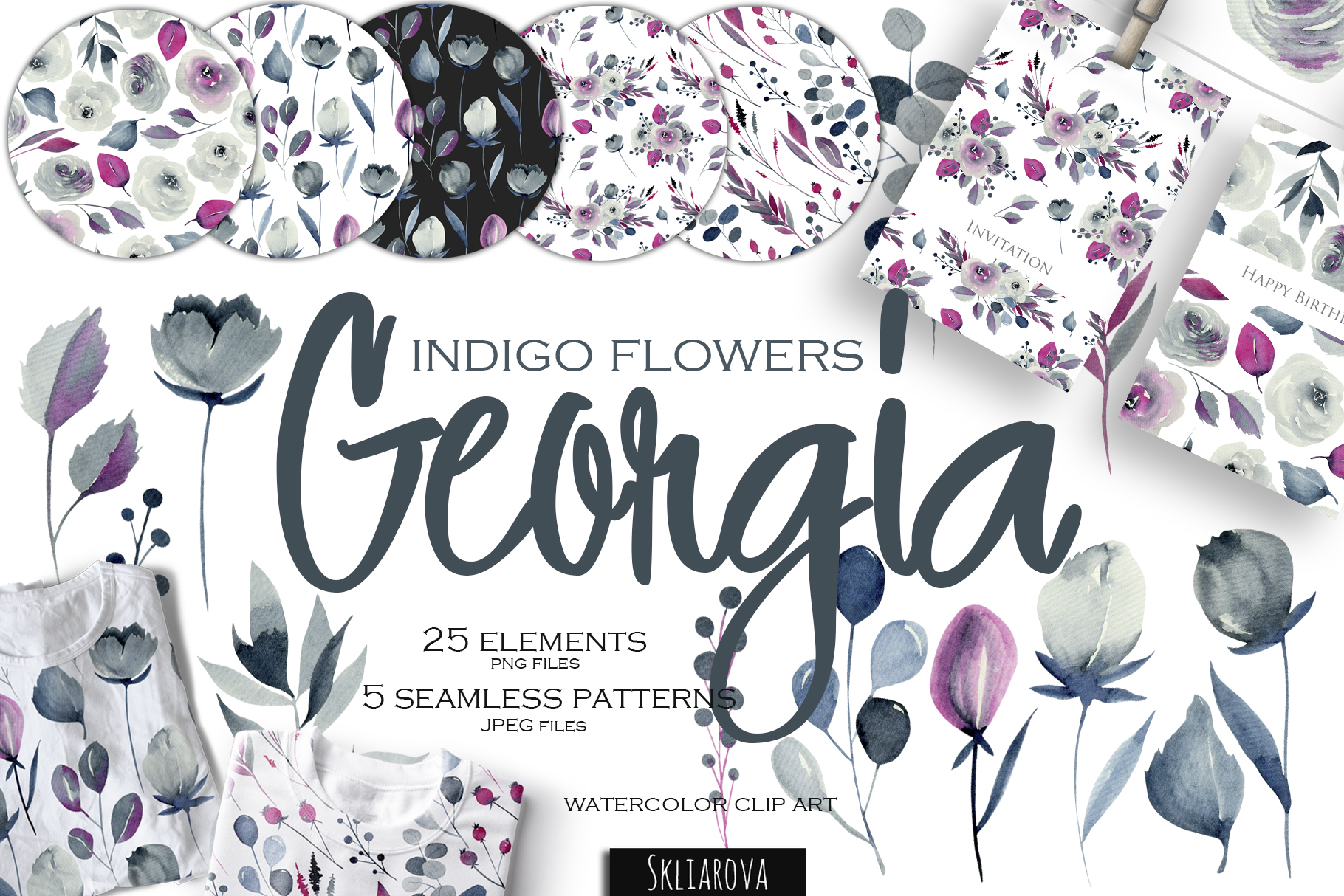 Georgia. Indigo flowers & patterns. example image 1