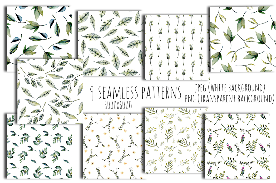 Green leaves Patterns example image 5
