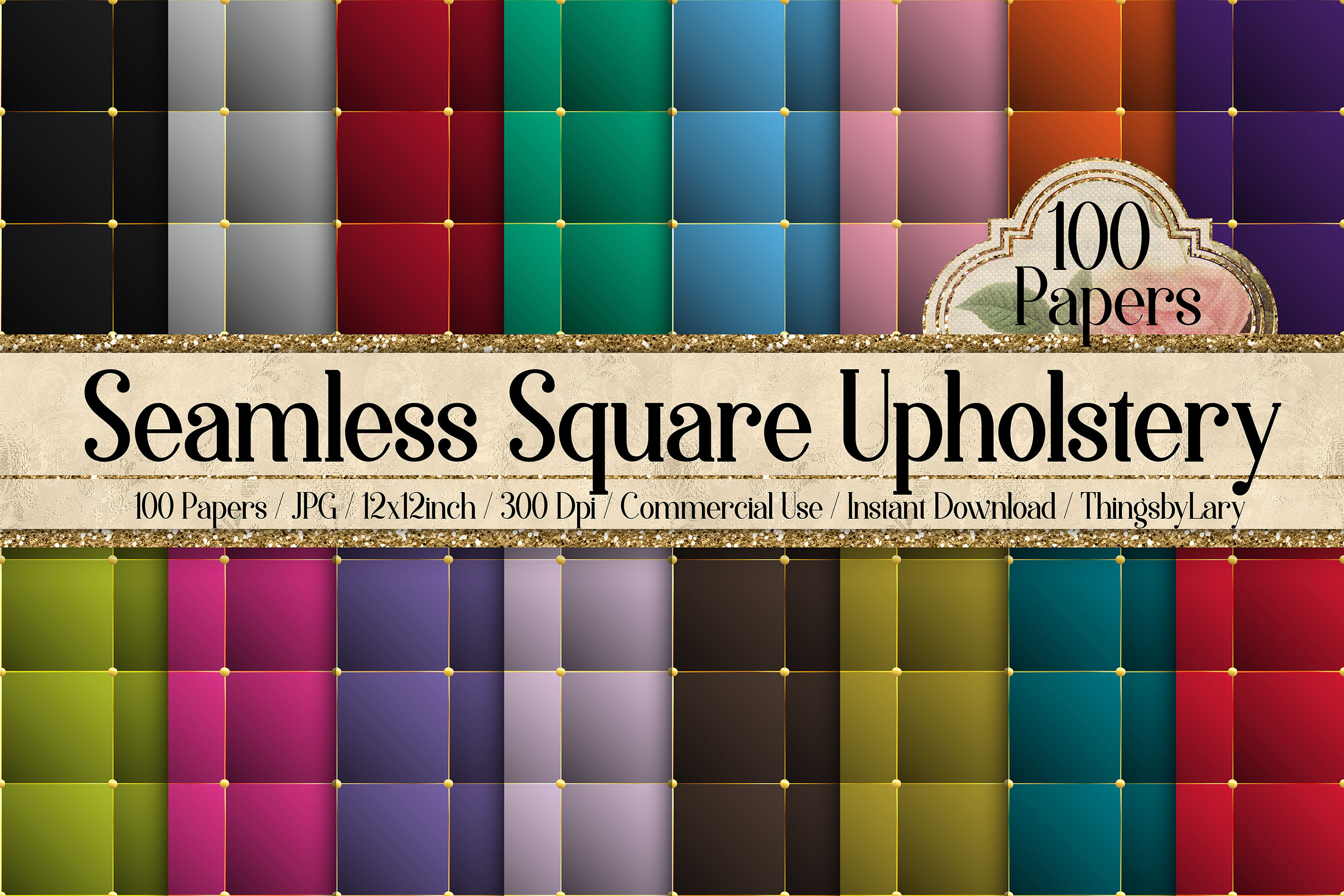 100 Seamless Square Upholstery Quilt Leather Digital Papers example image 1