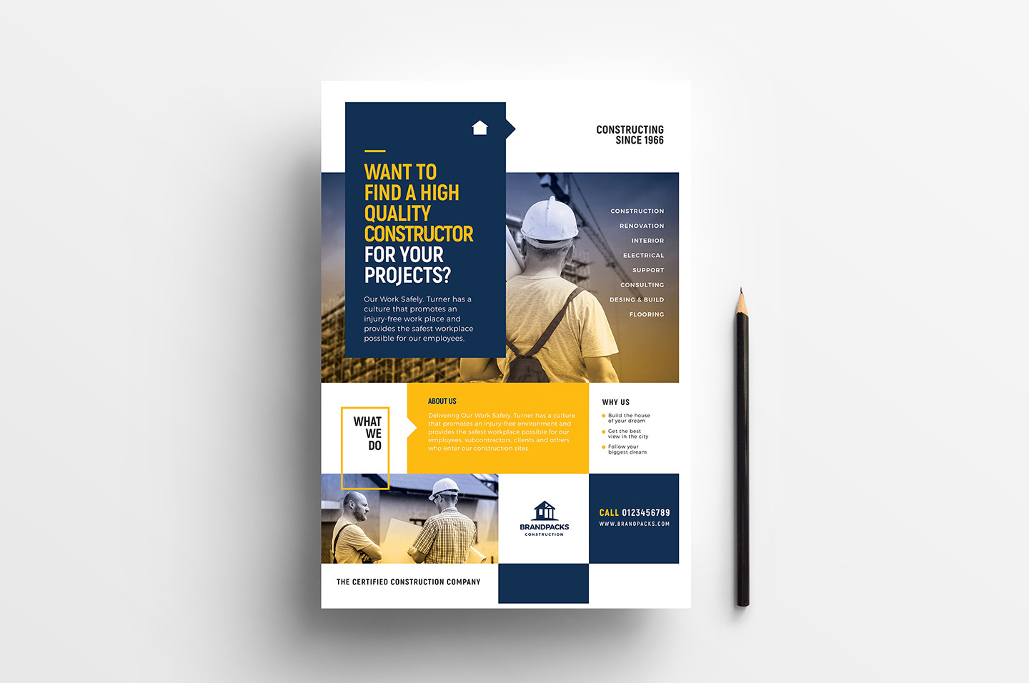 A4 Construction Company Advertisement Templates example image 2