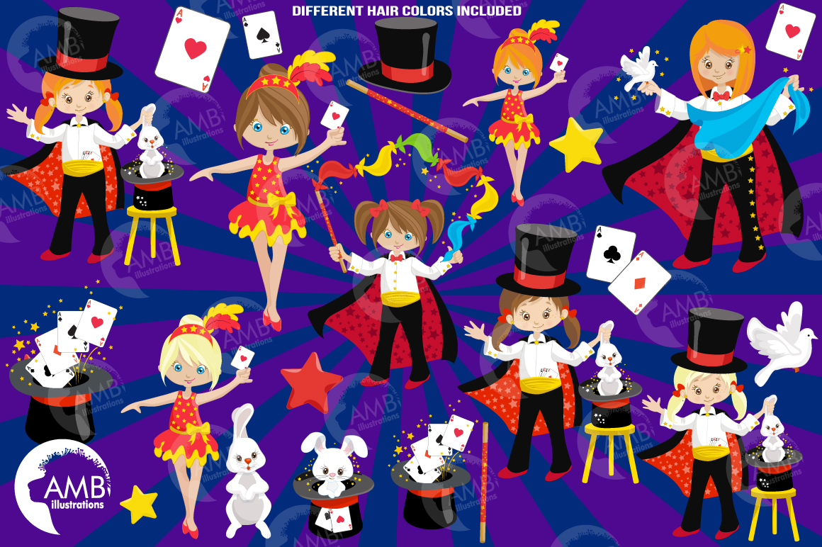 Girl's Magician Party clipart, graphics, illustrations AMB-1192 example image 6