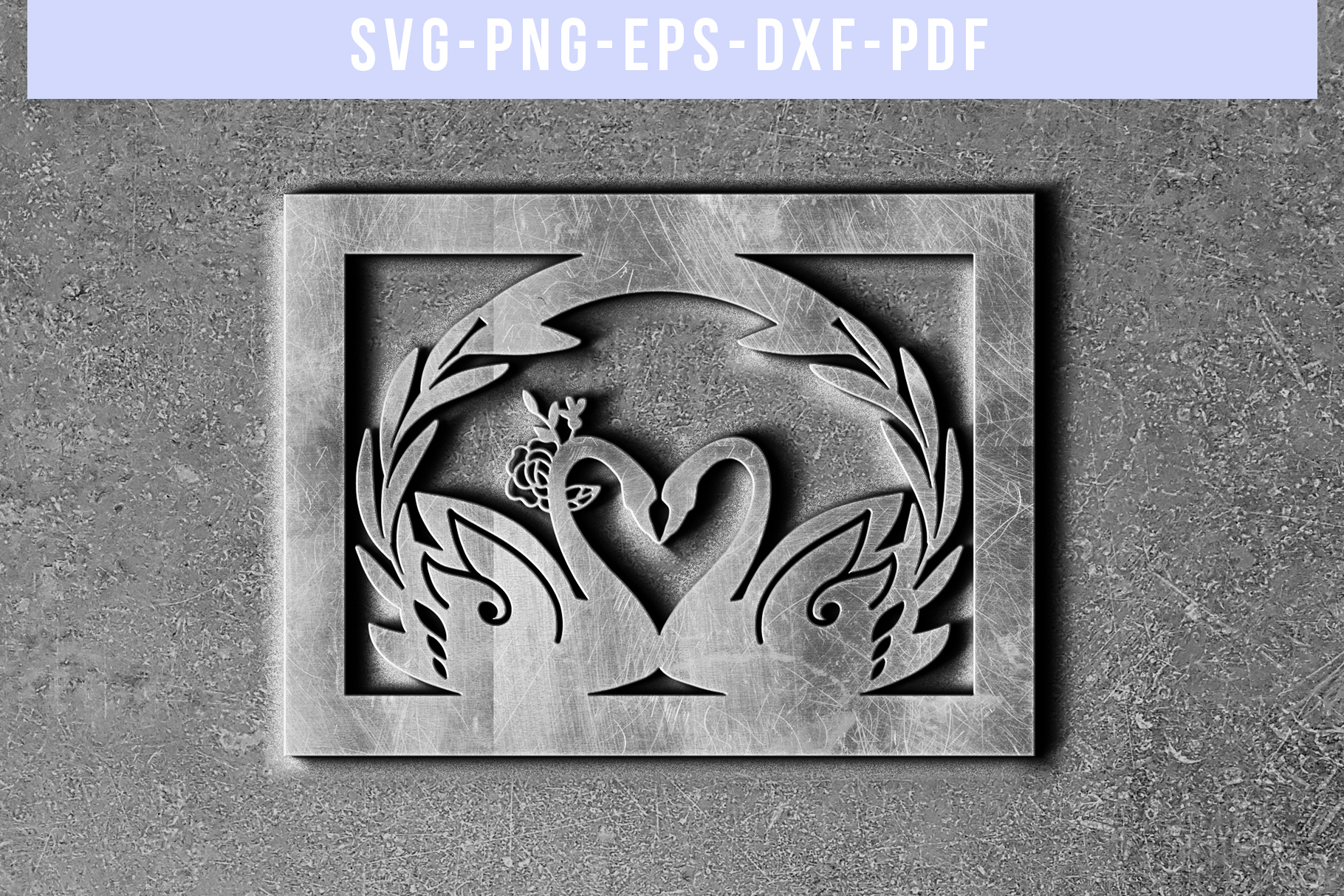 Wedding Swan Frame Papercut Template, Couple SVG, DXF, PDF example image 2