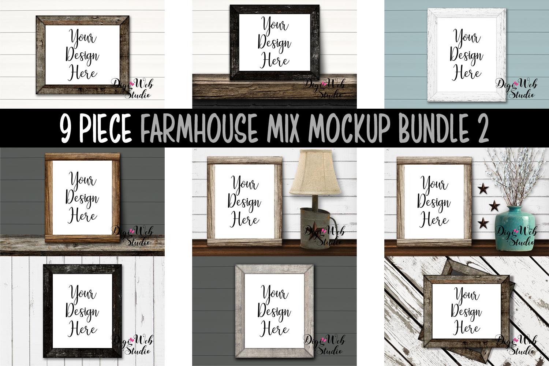 Wood Signs Mockup Bundle - 9 Wood Frames Farmhouse Mix 2 example image 1