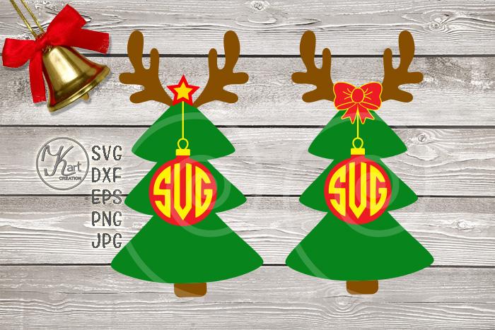 Christmas Tree Deer Antlers Ball Monogram Svg Dxf Png Files