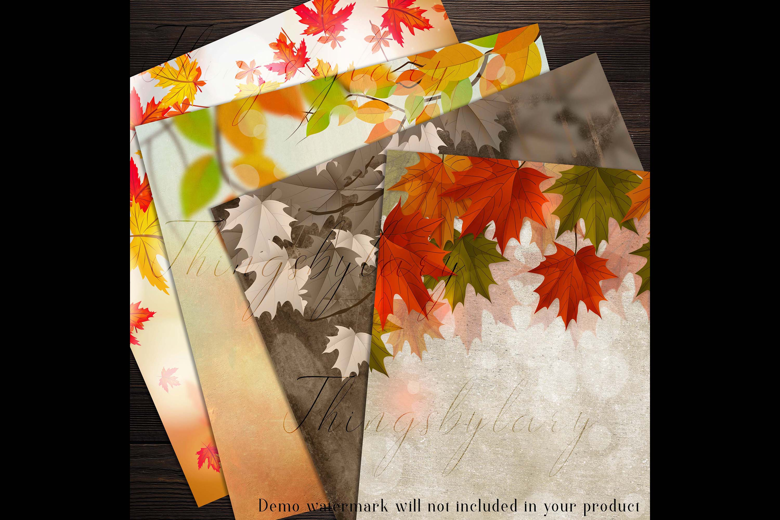 18 Autumn Leaves Digital Papers, thanksgiving fall wedding example image 7