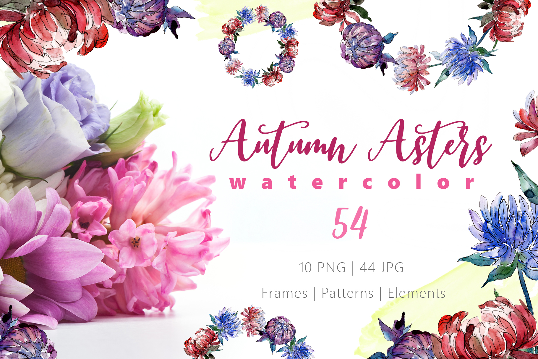 Autumn Asters Watercolor png example image 1