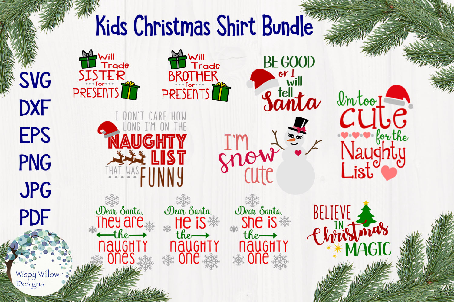 Kids Christmas Shirt Bundle | Funny Christmas SVG Cut Files example image 1