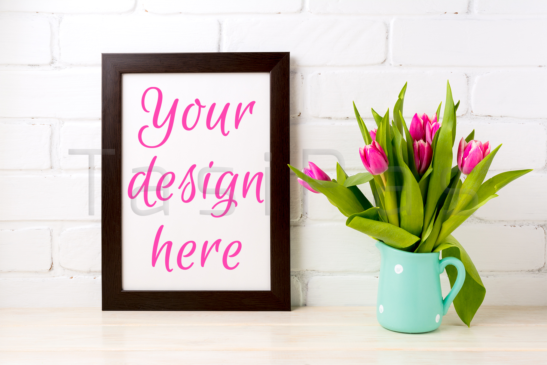 Black brown frame mockup with bright pink tulips bouquet example image 1