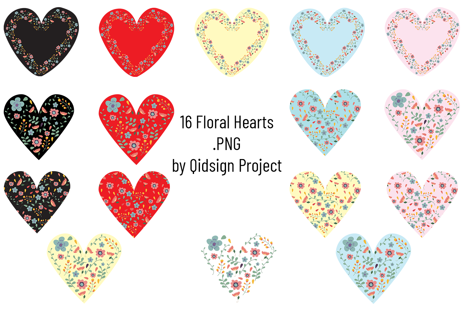 Floral Heart Clipart .PNG example image 1