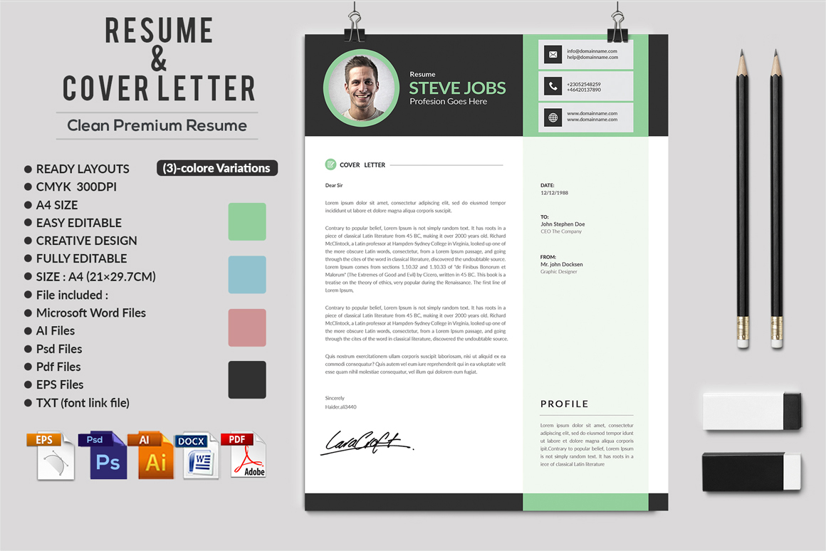 12 Clean Rsume Invoice and Letterhead Bundle example image 19