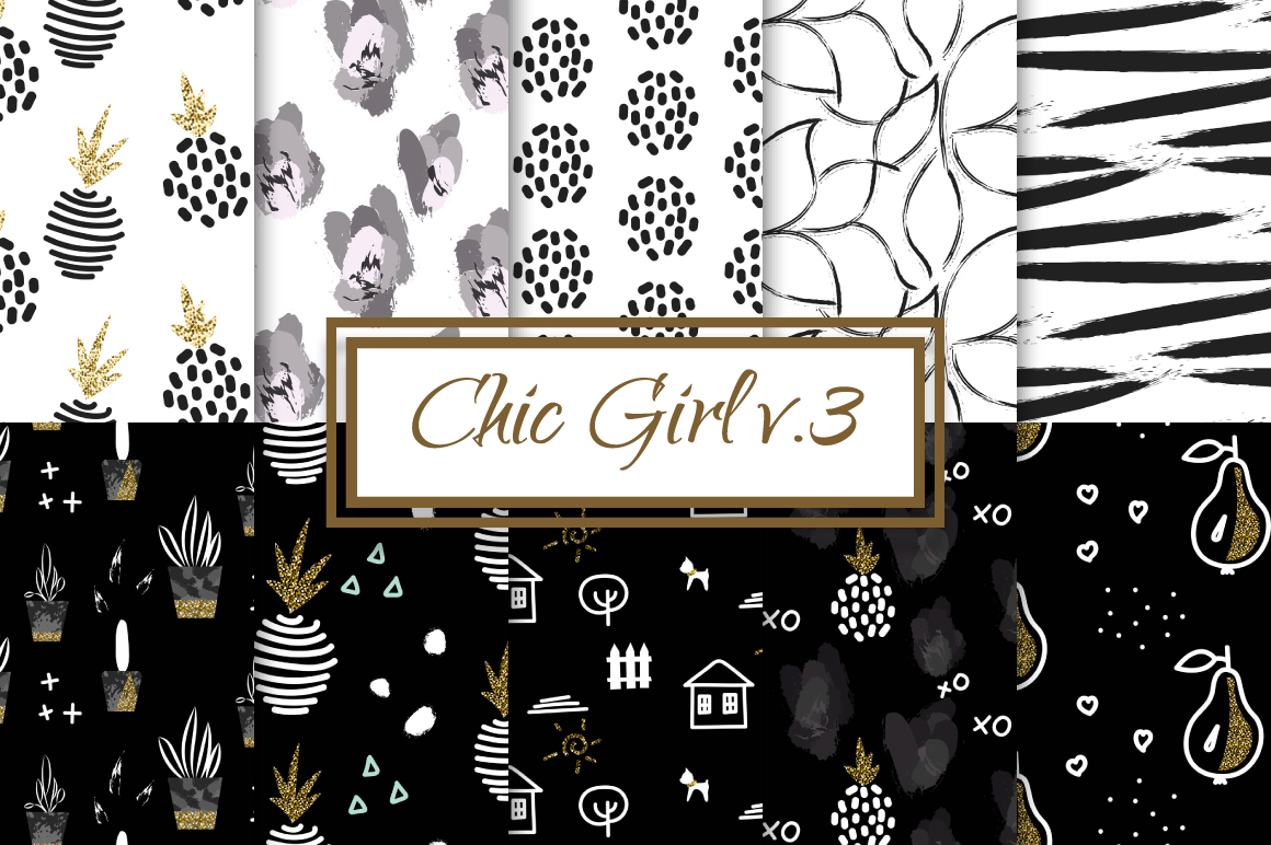 Chic Girl v3. - seamless patterns example image 1