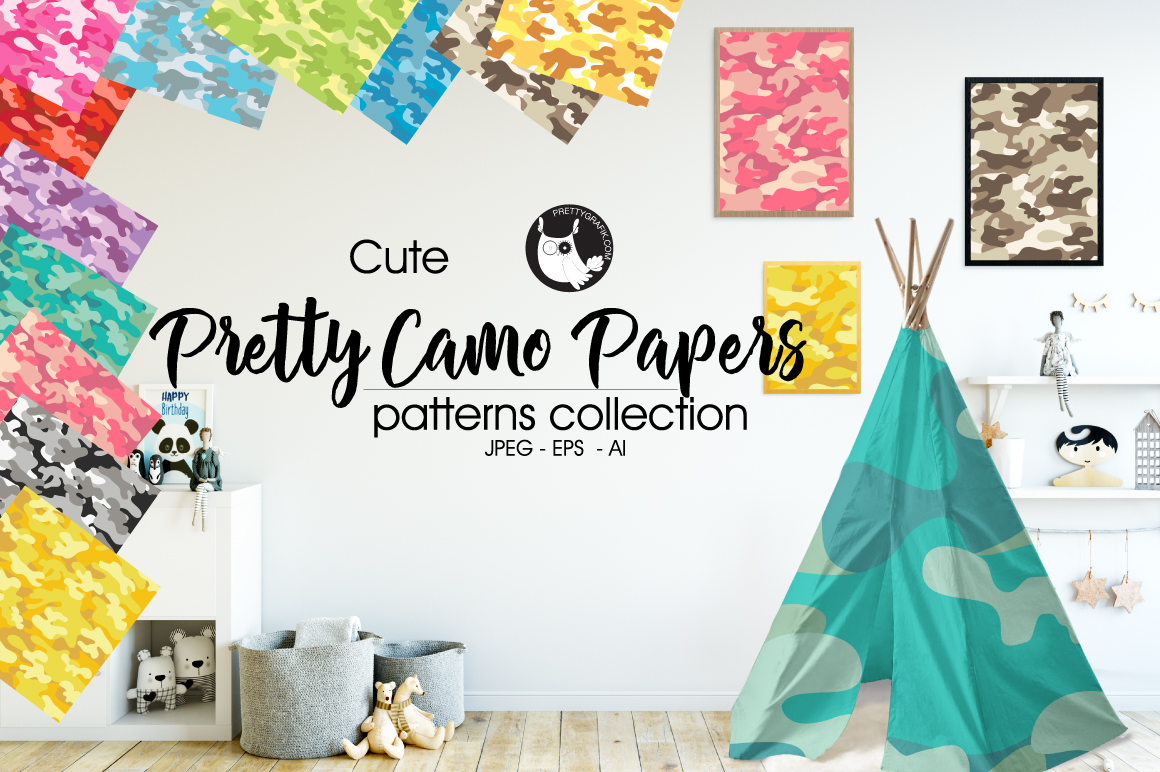 PRETTY-CAMO-PAPERS, digital papers example image 1