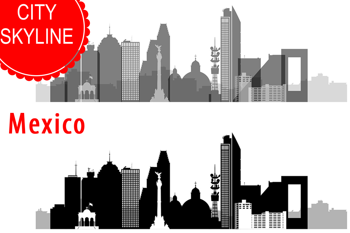 Mexico city Vector, Skyline, SVG, JPG, PNG, DWG, CDR, EPS, AI example image 1