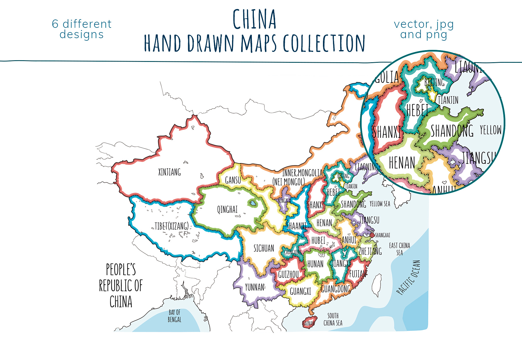 Maps of China. Hand drawn collection example image 4