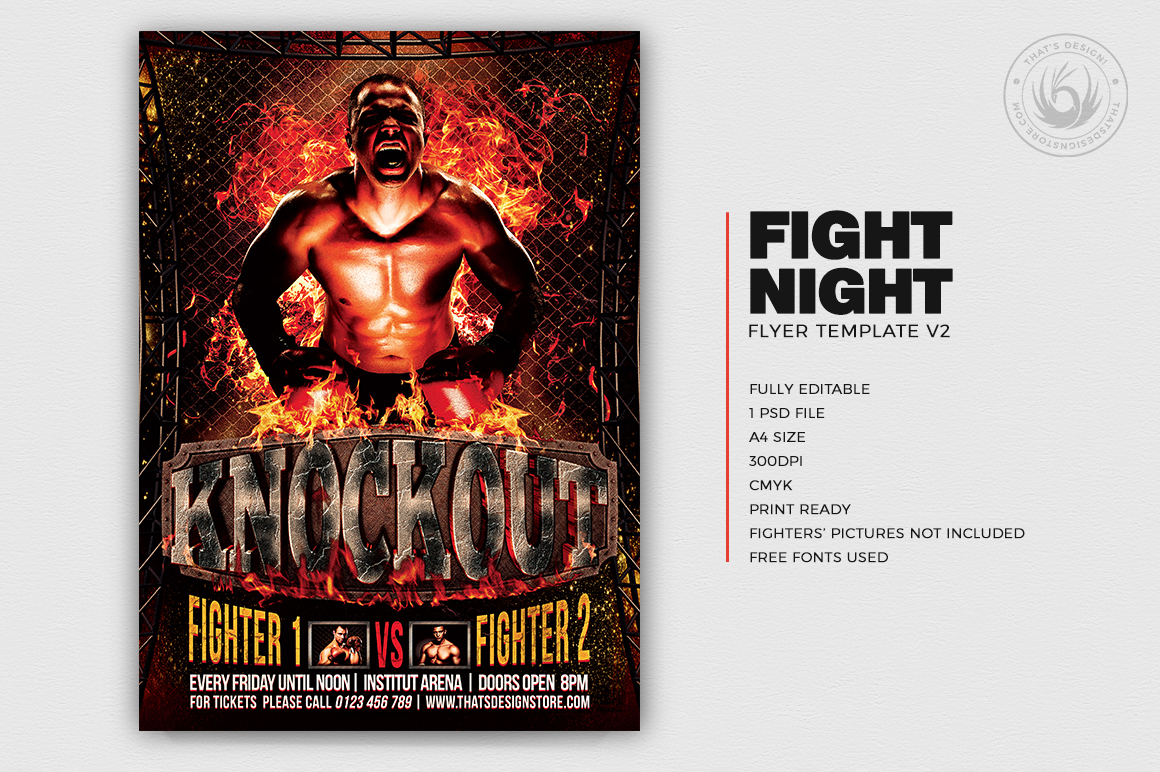 Fight Night Flyer Template V2 example image 2