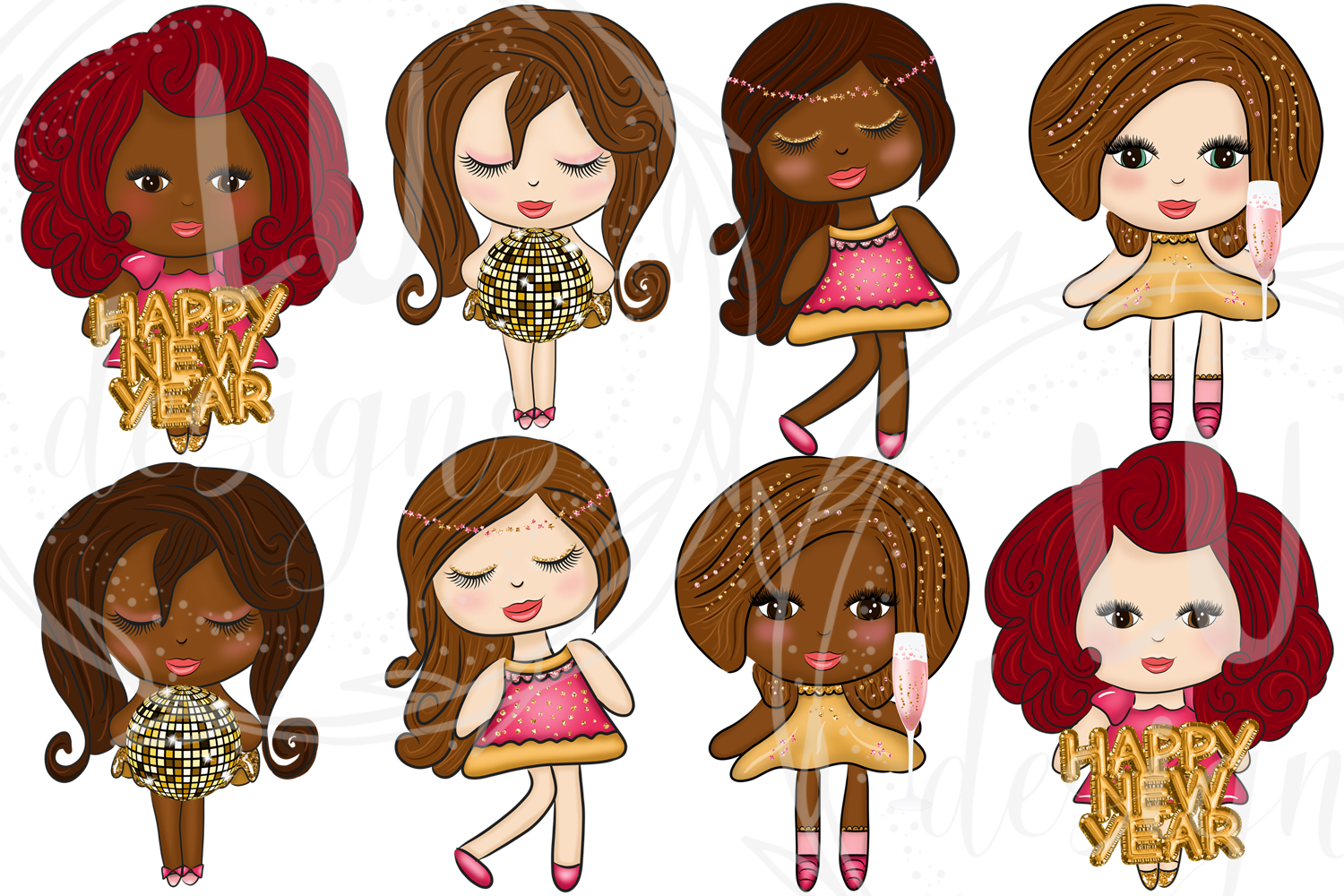 New Year Clipart, New Year Graphics, Party Cute Dolls example image 2