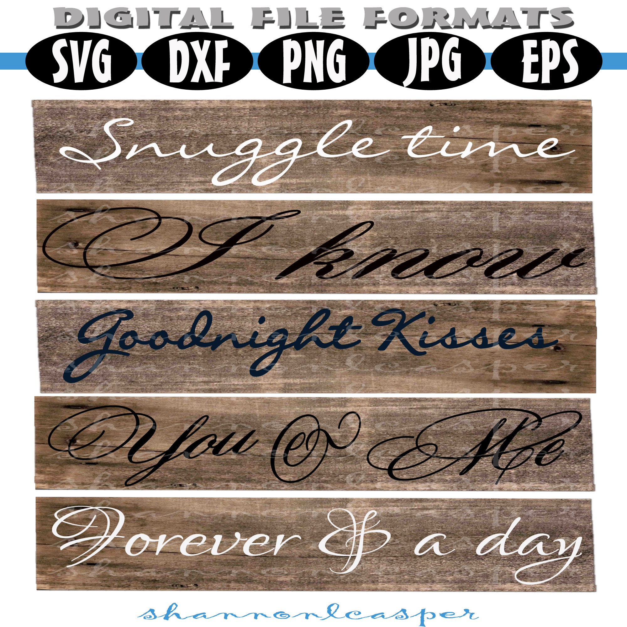 Romantic Wood Sign SVG Bundle example image 2