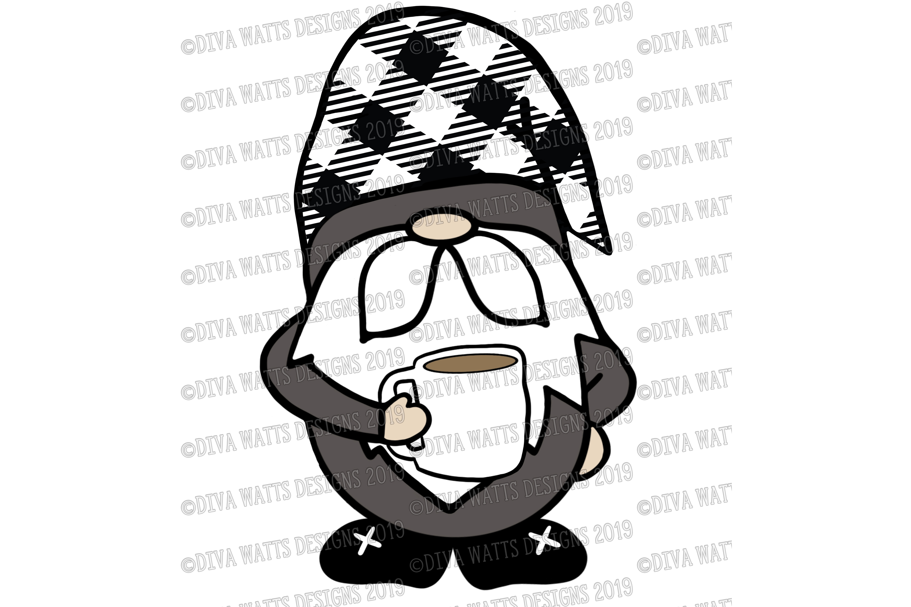 Farmhouse Coffee Gnome with Buffalo Check Hat Cut File SVG example image 6